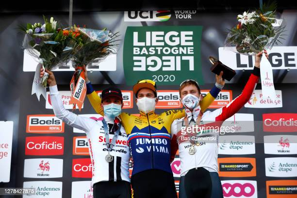 Podium / Marc Hirschi of Switzerland Team Sunweb Silver medal / Primoz Roglic of Slovenia and Team JumboVisma Trophy / Tadej Pogacar of Slovenia and...