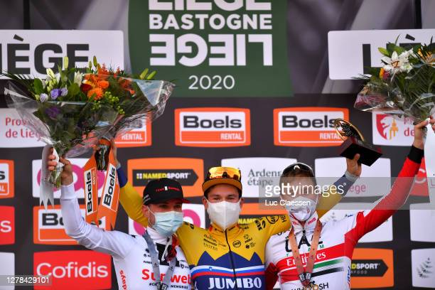 Podium / Marc Hirschi of Switzerland Team Sunweb Silver medal / Primoz Roglic of Slovenia and Team Jumbo-Visma Trophy / Tadej Pogacar of Slovenia and...