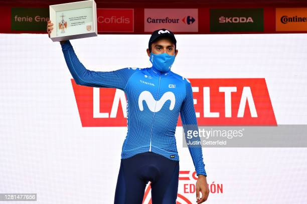Podium / Marc Soler Gimenez of Spain and Movistar Team / Celebration / Trophy / Mask / Covid safety measures / during the 75th Tour of Spain 2020,...