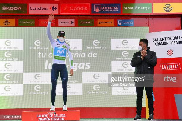 Podium / Marc Soler Gimenez of Spain and Movistar Team White Best Young Jersey / Celebration / Oscar Pereiro of Spain Ex Pro-cyclist winner of the...