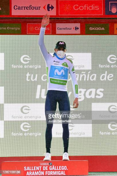 Podium / Marc Soler Gimenez of Spain and Movistar Team White Best Young Jersey / Celebration / during the 75th Tour of Spain 2020 - Stage 6 a 146,4km...