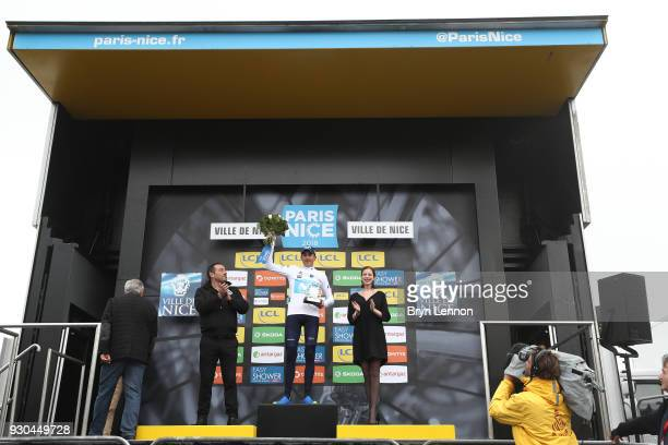 Podium / Marc Soler White Best Young Rider Jersey of Spain and Movistar Team Celebration / during the 76th Paris Nice 2018 Stage 8 a 110km stage from...