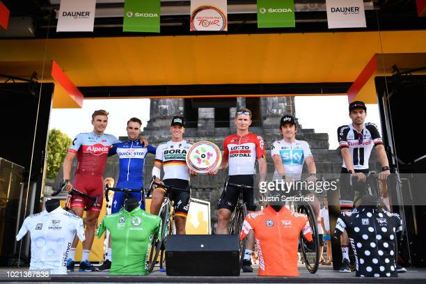 Podium / Marcel Kittel of Germany and Team Katusha Alpecin / Maximilian Schachmann of Germany and Team QuickStep Floors / Pascal Ackermann of Germany...