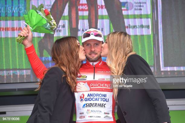 Podium / Marco Frapporti of Italy and Team Androni Sidermec Bottecchia Red Sprint Jersey / Celebration / during the 42nd Tour of the Alps 2018, Stage...