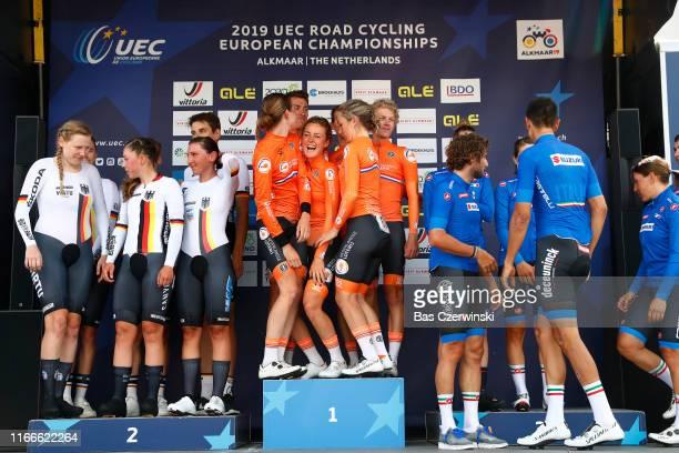 Podium / Marco Mathis of Germany / Jasha Sutterlin of Germany / Justin Wolf of Germany / Lisa Brennauer of Germany / Lisa Klein of Germany / Mieke...