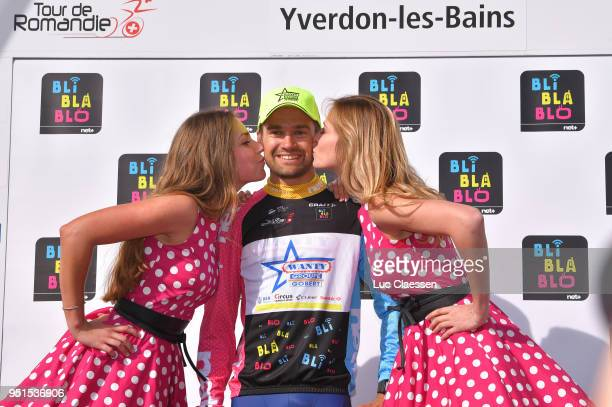 Podium / Marco Minnaard of The Netherlands and Team Wanty-Groupe Gobert / Mountain jersey Celebration / during the 72nd Tour de Romandie 2018, Stage...