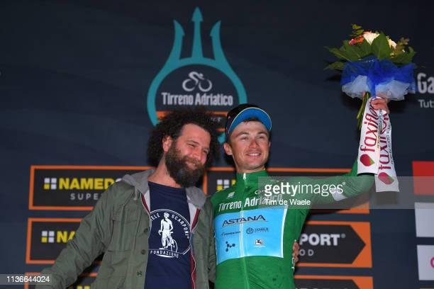 Podium / Marco Scarponi of Italy brother of Michele Scarponi of Italy / Alexey Lutsenko of Kazakhstan and Astana Pro Team Green Mountain Jersey /...