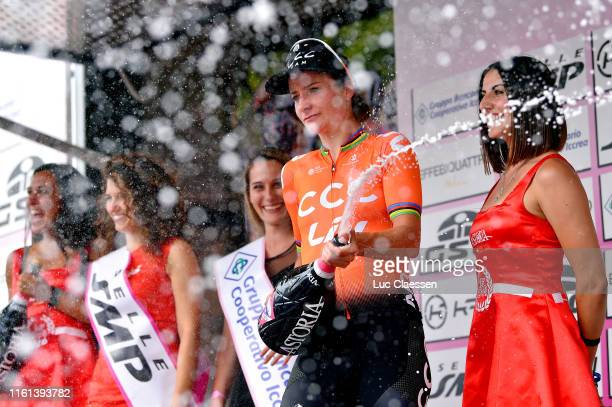 Podium / Marianne Vos of The Netherlands and Team CCC - Liv / Celebration / Champagne / Miss / Hostess / during the 30th Tour of Italy 2019 - Women,...