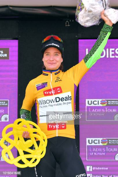Podium / Marianne Vos of The Netherlands and Team WaowDeals Pro Cycling Yellow Leader Jersey / Celebration / during the 4th Ladies Tour of Norway...