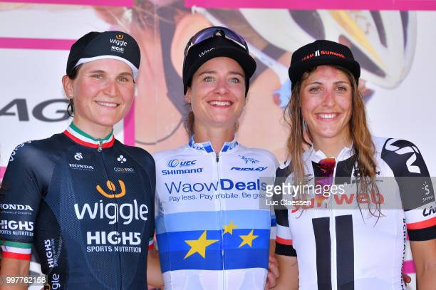 Podium / Marianne Vos of The Netherlands and Team WaowDeals Pro Cycling / Elisa Longo Borghini of Italy and Team Wiggle High5 Blue Best Italian Rider...