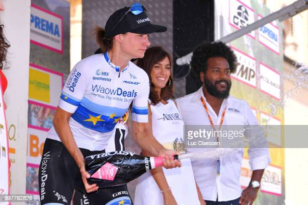 Podium / Marianne Vos of The Netherlands and Team WaowDeals Pro Cycling / Celebration / Champagne / during the 29th Tour of Italy 2018 Women Stage 8...