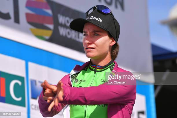 Podium / Marianne Vos of The Netherlands and Waowdeals Pro Cycling Team /UCI World Tour leaders jersey / Celebration / during the 20th Grand Prix De...