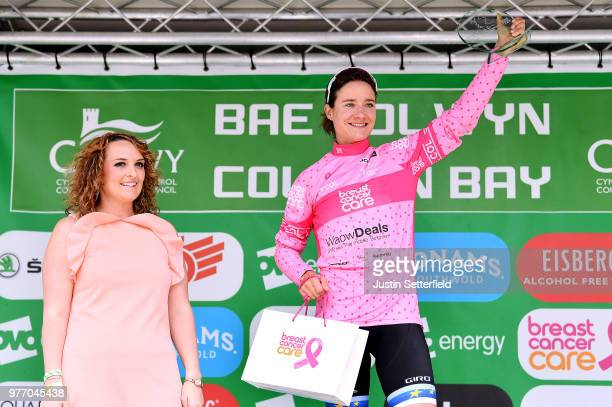 Podium / Marianne Vos of The Netherlands and Waowdeals Pro Cycling Team Pink Breast Cancer Care Points Jersey /Celebration / during the 5th OVO...