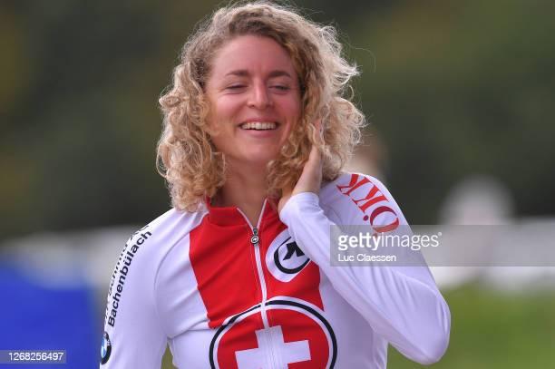 Podium / Marlen Reusser of Switzerland Bronze medal / Celebration / during the 26th UEC Road European Championships 2020 - Women's Elite Individual...