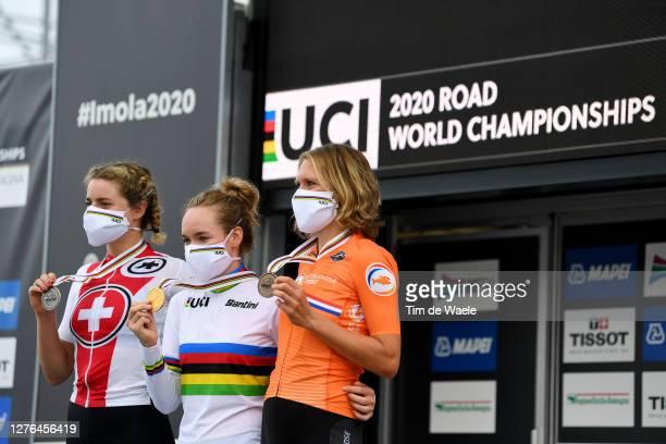 Podium / Marlen Reusser of Switzerland Silver medal / Anna Van Der Breggen of The Netherlands World Champion Jersey Gold medal / Ellen Van Dijk of...