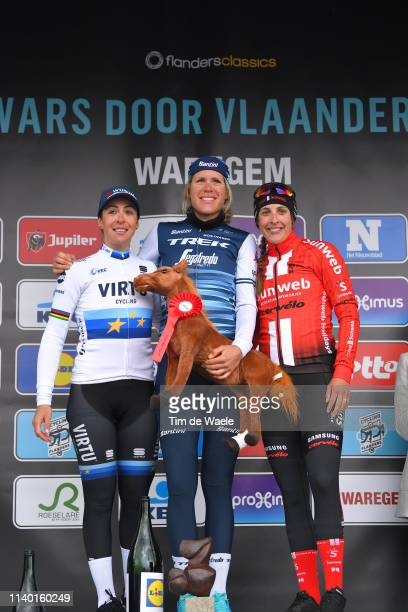 Podium / Marta Bastianelli of Italy and Team Virtu Cycling / Ellen van Dijk of The Netherlands and Team Trek - Segafredo / Lucinda Brand of The...