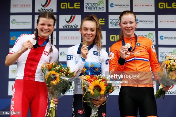 Podium / Marta Lach of Poland Silver Medal / Letizia Paternostre of Italy Gold Medal / Lonneke Uneken of Netherlands Bronze Medal / Celebration /...