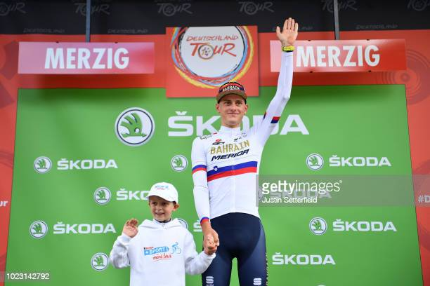 Podium / Matej Mohoric of Slovenia and Bahrain Merida Pro Team Celebration / during the 33rd Deutschland Tour 2018, Stage 3 a 177km from Trier to...