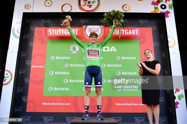 Podium / Matej Mohoric of Slovenia and Bahrain Merida Pro Team Green Sprint Jersey / Celebration / during the 33rd Deutschland Tour 2018, Stage 4 a...