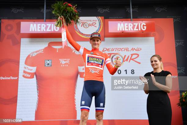 Podium / Matej Mohoric of Slovenia and Bahrain Merida Pro Team Red Leader Jersey Celebration / during the 33rd Deutschland Tour 2018, Stage 3 a 177km...