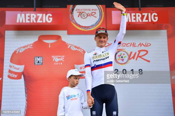 Podium / Matej Mohoric of Slovenia and Bahrain Merida Pro Team White Best Young Rider Jersey / Celebration / during the 33rd Deutschland Tour 2018,...