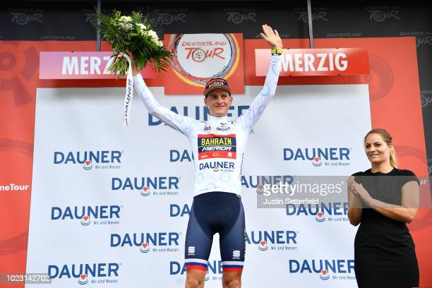 Podium / Matej Mohoric of Slovenia and Bahrain Merida Pro Team White Best Young Rider Jersey / Celebration / during the 33rd Deutschland Tour 2018...