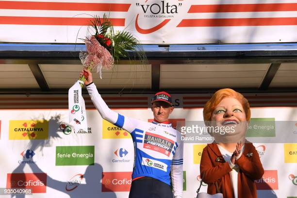 Podium / Matej Mohoric of Slovenia and Bahrain-Merida Blue Young Jersey / Celebration / Flowers / during the 98th Volta Ciclista a Catalunya 2018,...