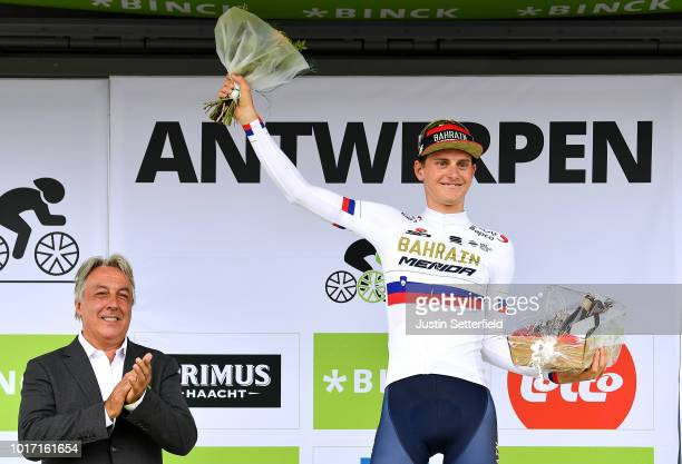 Podium / Matej Mohoric of Slovenia and Team Bahrain - Merida Celebration / during the 14th BinckBank Tour 2018, Stage 3 a174,9km stage from Aalter to...