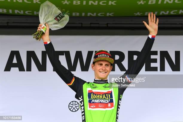 Podium / Matej Mohoric of Slovenia and Team Bahrain - Merida Green Leader Jersey Celebration / during the 14th BinckBank Tour 2018, Stage 3 a174,9km...