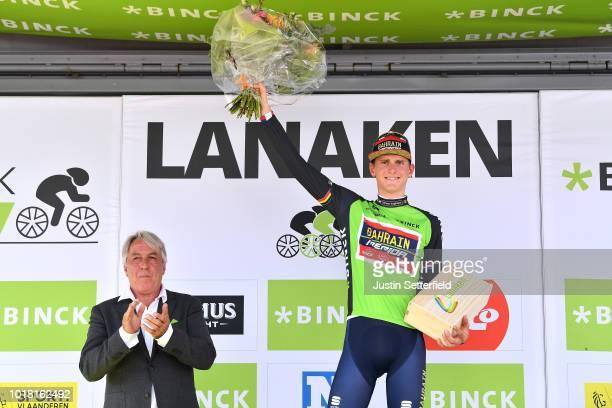 Podium / Matej Mohoric of Slovenia and Team Bahrain - Merida Green Leader Jersey Celebration during the 14th BinckBank Tour 2018, Stage 5 a 204,4km...