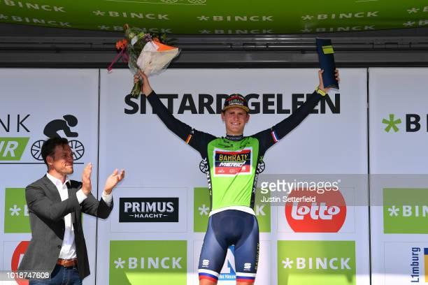 Podium / Matej Mohoric of Slovenia and Team Bahrain - Merida Green Leader Jersey / Celebration / during the 14th BinckBank Tour 2018, Stage 6 a...