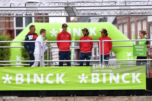 Podium / Matej Mohoric of Slovenia and Team Bahrain Merida / Manuele Boaro of Italy and Team Bahrain Merida / Yukiya Arashiro of Japan and Team...