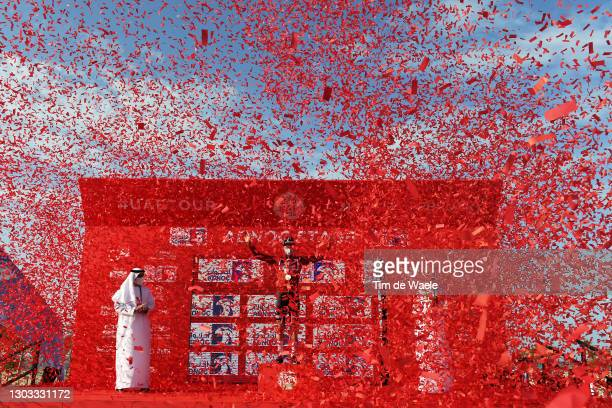Podium / Mathieu van der Poel of The Netherlands and Team Alpecin-Fenix Red Leader Jersey Celebration / during the 3rd UAE Tour 2021, Stage 1 a 176km...