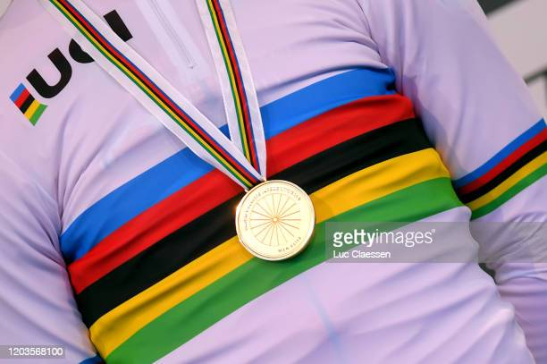 Podium / Mathieu Van Der Poel of The Netherlands World Champion Jersey Gold medal / Detail view / during the 71st Cyclocross World Championships...