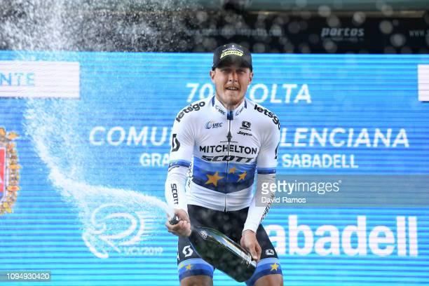 Podium / Matteo Trentin of Italy and Team Mitchelton - Scott / Celebration / Champagne / during 70th Volta a la Comunitat Valenciana 2019 - Stage 2 a...