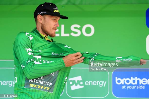 Podium / Matteo Trentin of Italy and Team Mitchelton-SCOTT Green Leader Jersey / Celebration / during the 16th Tour of Britain 2019, Stage 2 a...