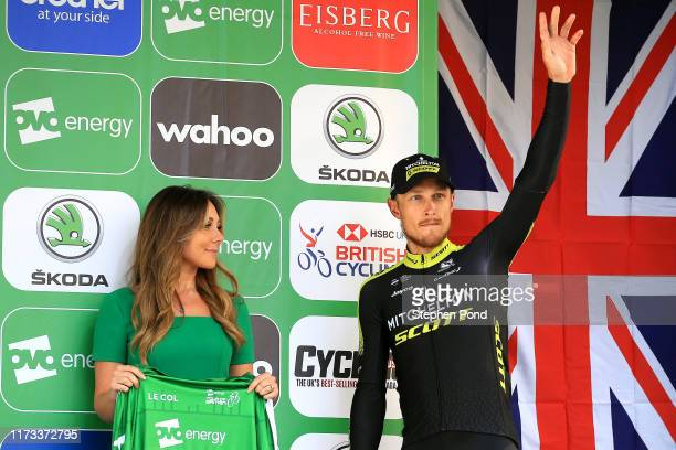 Podium / Matteo Trentin of Italy and Team Mitchelton-SCOTT Green Leader Jersey / Celebration / Miss / Hostess / during the 16th Tour of Britain 2019,...