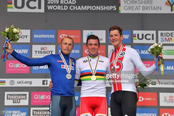 Podium / Matteo Trentin of Italy Silver Medal / Mads Pedersen of Denmark Gold Medal / Stefan Kung of Switzerland Bronze Medal / Celebration / during...