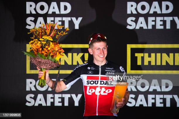 Podium / Matthew Holmes of Great Britain and Team Lotto-Soudal / Celebration / Trophy / during the 22nd Santos Tour Down Under 2020, Stage 6 a...