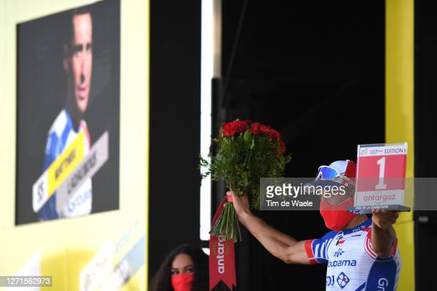 Podium / Matthieu Ladagnous of France and Team Groupama - FDJ Most Combative Rider / Celebration / Mask / Trophy / Flowers / Covid safety measures /...