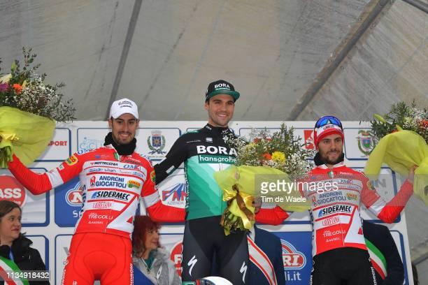 Podium / Mattia Cattaneo of Italy and Team Androni Giocattoli - Sidermec / Maximilian Schachmann of Germany and Team Bora-Hansgrohe / Andrea Vendrame...