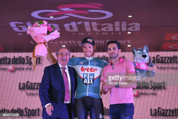Podium / Mauro Vegni of Italy RCS Race Director Tour of Italy / Adam Hansen of Australia and Team Lotto Soudal twenty consecutive Grand Tours /...