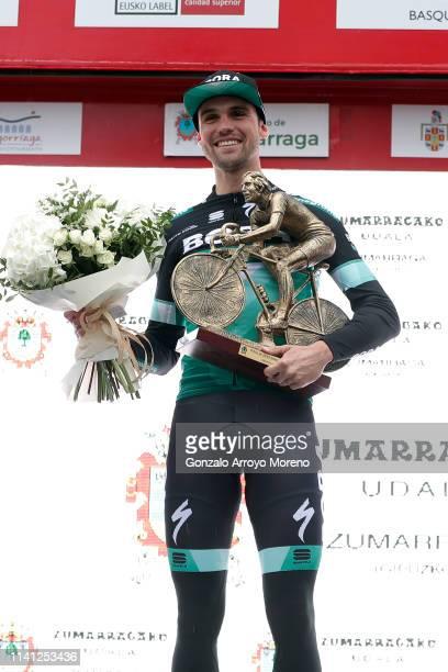 Podium / Maximilian Schachmann of Germany and Team Bora - Hansgrohe / Celebration / Trophy / during the 59th Itzulia-Vuelta Ciclista Pais Vasco 2019,...