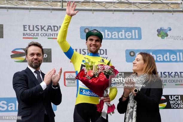Podium / Maximilian Schachmann of Germany and Team Bora - Hansgrohe Yellow Leader Jersey / Celebration / Flowers / during the 59th Itzulia-Vuelta...