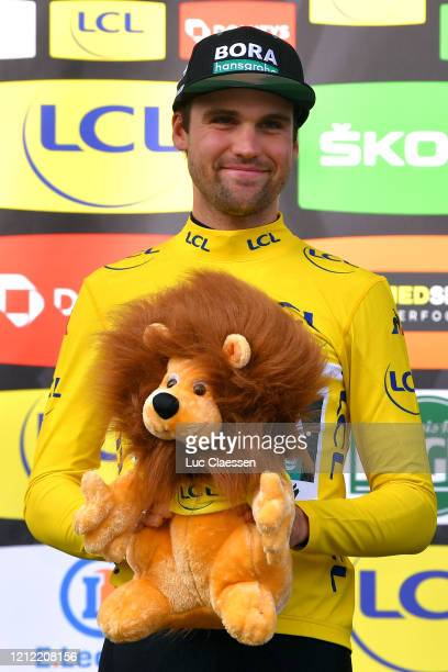 Podium / Maximilian Schachmann of Germany and Team Bora Hansgrohe Yellow Leader Jersey / Celebration / Lion Mascot / during the 78th Paris Nice 2020...