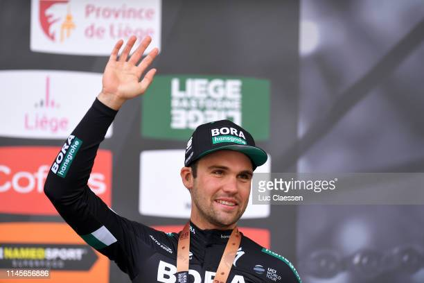 Podium / Maximilian Schachmann of Germany and Team BoraHansgrohe Bronze medal / Celebration / during the 105th Liege Bastogne Liege 2019 a 256km race...