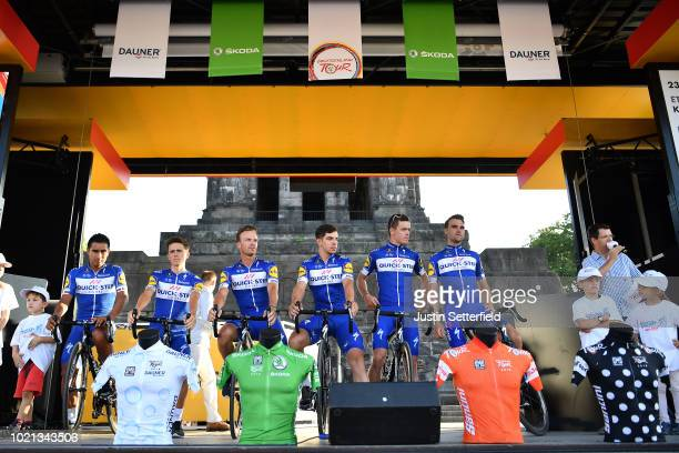 Podium / Maximilian Schachmann of Germany and Team Quick-Step Floors / Cavagna Remi of France and Team Quick-Step Floors / Alvaro Jose Hodeg of...