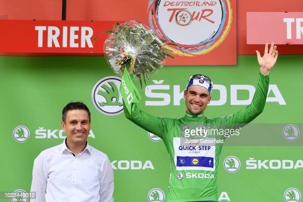 Podium / Maximilian Schachmann of Germany and Team Quick-Step Floors Green Sprint Jersey / Celebration / during the 33rd Deutschland Tour 2018, Stage...