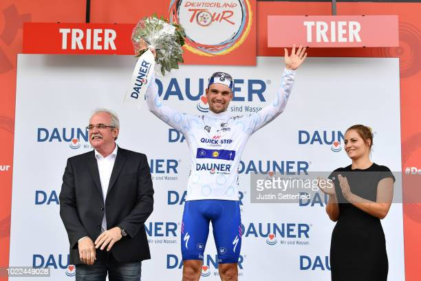 Podium / Maximilian Schachmann of Germany and Team Quick-Step Floors White Best Young Rider Jersey / Celebration / during the 33rd Deutschland Tour...