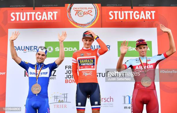 Podium / Maximilian Schachmann of Germany and Team Quick-Step Floors / Matej Mohoric of Slovenia and Bahrain Merida Pro Team Red Leader Jersey / Nils...